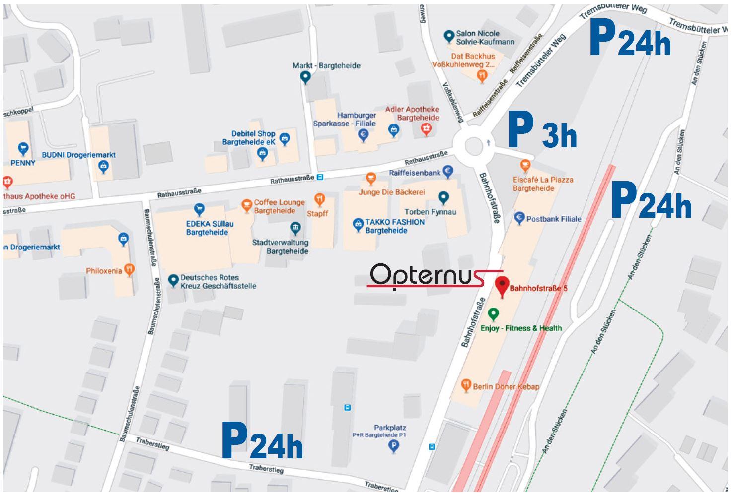 Parkenmöglichkeiten bei der Opternus GmbH in 22941 Bargteheide bei Hamburg
