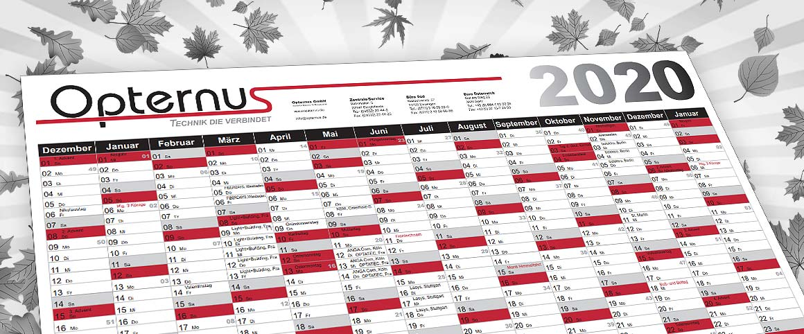 Opternus Jahreskalender 2020